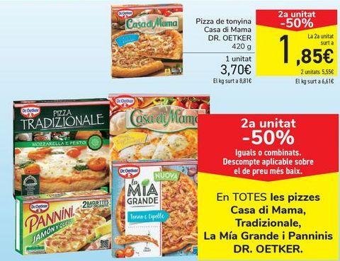 Oferta de En TODAS las pizzas Casa di Mama, Tradizionale, La Mía Grande y Panninis DR.OETKER por 3,7€
