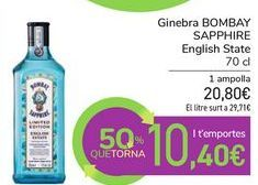 Oferta de Ginebra BOMBAY SAPPHIRE English State por 20,8€