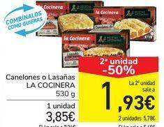 Oferta de Canelones o Lasañas LA COCINERA por 3,85€