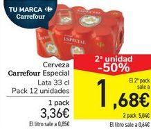Oferta de Cerveza Carrefour Especial  por 3,36€