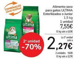 Oferta de Alimento seco para gatos ULTIMA Esterilizados o Junior por 7,55€