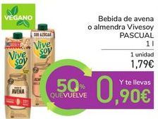 Oferta de Bebida de avena o almendra Vivesoy PASCUAL por 1,79€