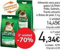 Oferta de Alimento seco para gatos ULTIMA Pollo, Salmón, Tracto urinario o Bolas de pelo  por 14,45€
