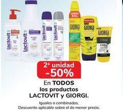 Oferta de En TODOS los productos LACTOVIT y GIORGI, iguales o combinados  por