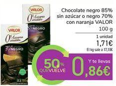 Oferta de Chocolate negro 85% sin azúcar o negro 70% con naranja VALOR por 1,71€