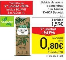 Oferta de Bebida de avena o almendras Sin azÚCAR KAIKU Begetal  por 1,59€