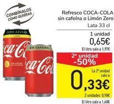 Oferta de Refresco COCA-COLA Sin cafeína o Limón Zero  por 0,65€