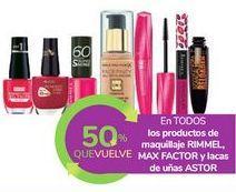 Oferta de En TODOS los productos de maquillaje RIMMEL, MAX FACTOR y lacas de uñas ASTOR por