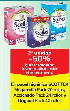 Oferta de En papel higiénico SCOTTEX Megarrollo, acolchado y Origial por