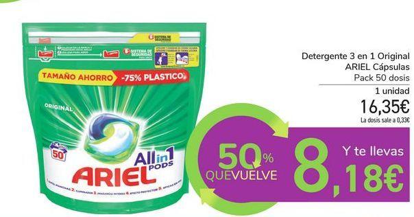 Oferta de Detergente 3 en 1 Original ARIEL Cápsulas  por 16,35€