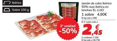 Oferta de Jamón de cebo ibérico 50% raza ibérica en lonchas EL LUJO por 4,9€