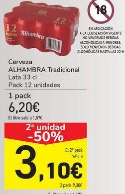 Oferta de Cerveza ALHAMBRA Tradicional  por 6,2€