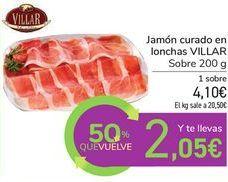 Oferta de Jamón curado en lonchas VILLAR por 4,1€