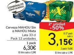 Oferta de Cerveza MAHOU Sin o MAHOU Mixta por 6,3€