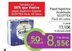 Oferta de Papel higiénico Acolchado SCOTTEX por 17,1€