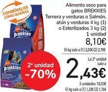 Oferta de Alimento seco para gatos BREKKIES Ternera y verdura o Salmón, Atún y verduras o Esterilizados  por 8,1€