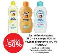 Oferta de En jabón hidratante, champú y leche hidratante NENUCO, iguales o combinados  por