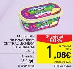 Oferta de Mantequilla sin lactosa ligera CENTRAL LECHERA ASTURIANA  por 2,15€