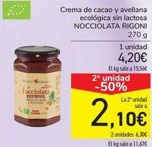 Oferta de Crema de cacao y avellana ecológica sin lactosa NOCCIOLATA RIGONI por 4,2€
