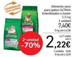 Oferta de Alimento seco para gatos ULTIMA Esterilizados o Junior por 7,4€