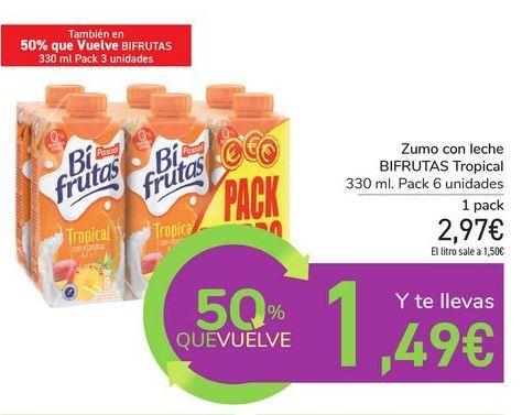 Oferta de Zumo con leche BIFRUTAS Tropical por 2,97€