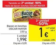 Oferta de Bacon en lonchas OSCAR MAYER  por 1,99€