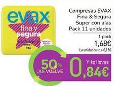 Oferta de Compresas EVAX Fina & Segura Super con alas por 1,68€