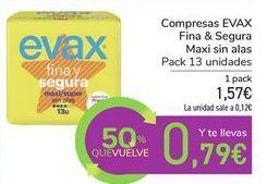 Oferta de Compresas EVAX Fina & Segura Maxi sin alas por 1,57€