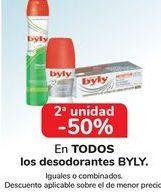 Oferta de En TODOS los desodorantes BYLY, iguales o combinados  por