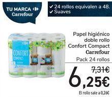 Oferta de Papel higiénico doble rollo Confort Compact Carrefour  por 6,25€