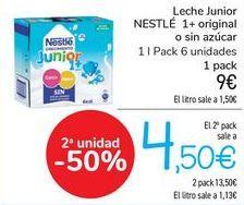 Oferta de Leche junior NESTLÉ 1+ Original o sin azúcar  por 9€