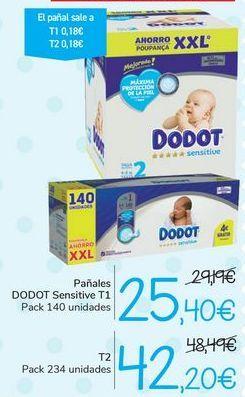 Oferta de Pañales DODOT Sensitive T1 o T2 por 25,4€