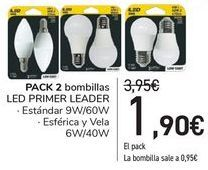 Oferta de PACK 2 bombillas LED PRIMER LEADER  por 1,9€