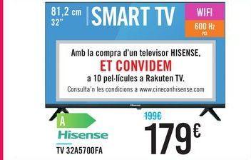 """Oferta de TV 32"""" SMART TV 32A5700FA Hisense por 179€"""