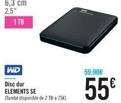 Oferta de Disco duro ELEMENTS SE WD por 55€