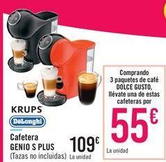 Oferta de Cafeteras GENIO S PLUS KRUPS o DeLonghi por 109€