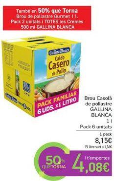 Oferta de Caldo Casero de pollo GALLINA BLANCA por 8,15€