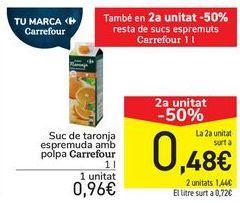 Oferta de Zumo de naranja exprimida con pulpa Carrefour  por 0,96€