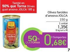 Oferta de Aceitunas rellenas de anchoa JOLCA por 1,35€