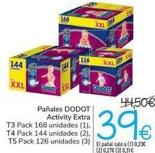 Oferta de Pañalaes DODOT Activity Extra  por 39€