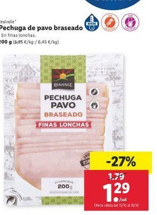 Oferta de Pechuga de pavo braseado Realvalle por 1,29€