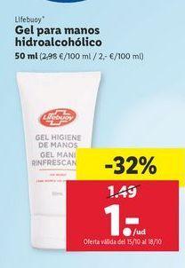 Oferta de Gel para manos hidroalcohólico Lifebuoy por 1€