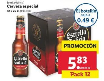 Oferta de Cerveza especial 12 x 25 cl Estrella Galicia por 5,83€