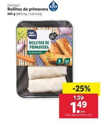 Oferta de Rollitos de primavera 280 g Chef Select por 1,49€