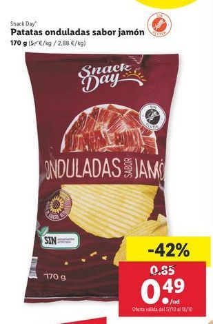 Oferta de Patatas onduladas sabor jamón 170 g Snack Day por 0,49€
