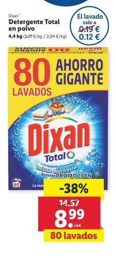 Oferta de Detergente Total en polvo 4,4 kg Dixan por 8,99€