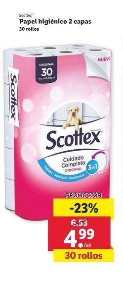 Oferta de Papel higiénico 2 capas 30 rollos Scottex por 4,99€