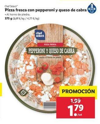 Oferta de Pizza fresca con pepperoni y queso de cabra 375 g Chef Select por 1,79€