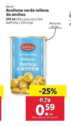 Oferta de Aceituna verde rellena de anchoa 370 ml Baresa por 0,59€
