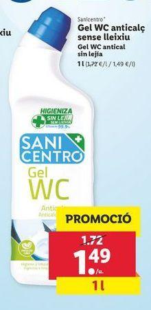 Oferta de Gel WC antical sin lejía 1 l Sanicentro por 1,49€